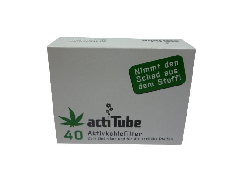 8mm Aktivkohlefilter von actiTube - 40er Verpackung. High-End Jointfilter
