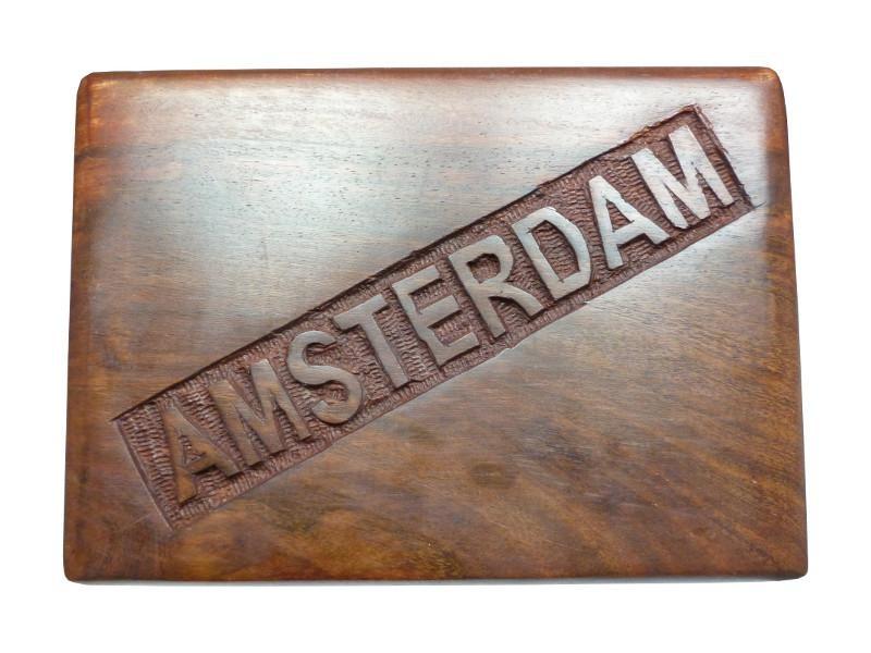 Große Amsterdam Holzbox in den Maßen: 18x13x5,7cm