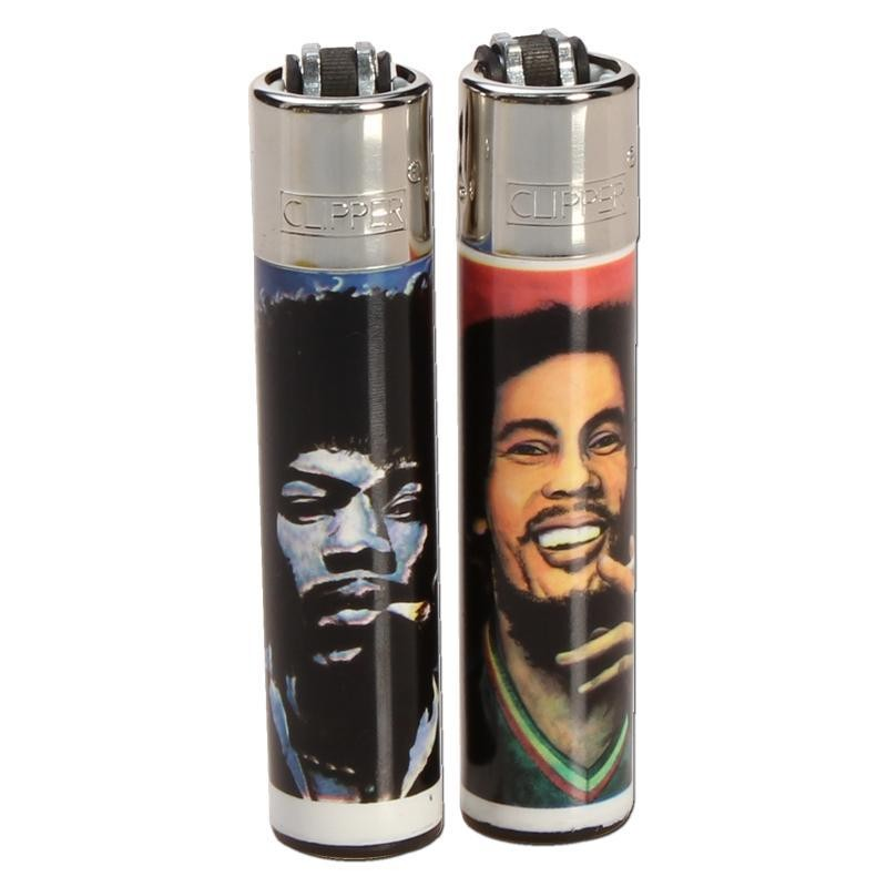 "Clipper Feuerzeug ""Hemp Legends"", Jimmy Hendrix und Bob Marley"