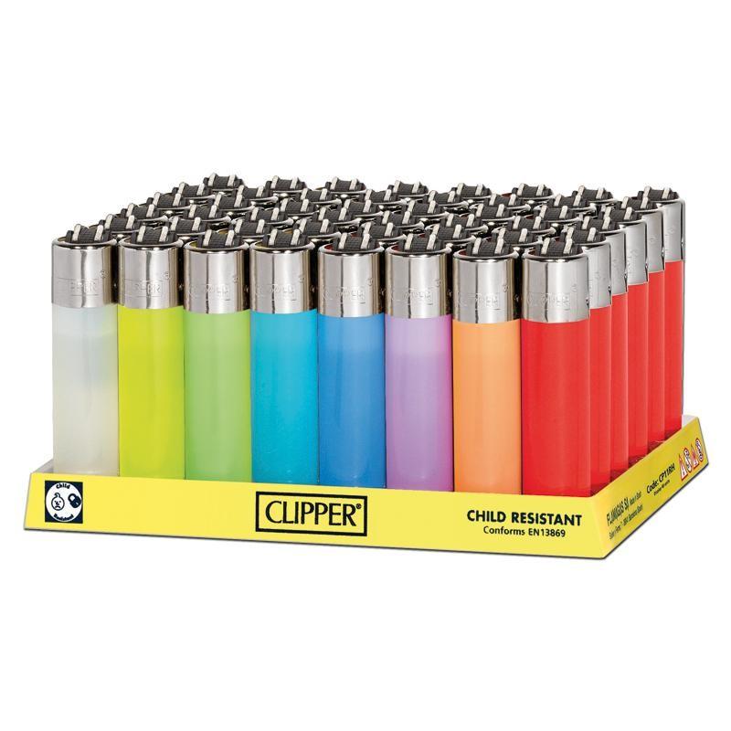 Clipper Feuerzeug Transparent in weiss, gelb, grün, hellblau, blau, lila, orange & rot