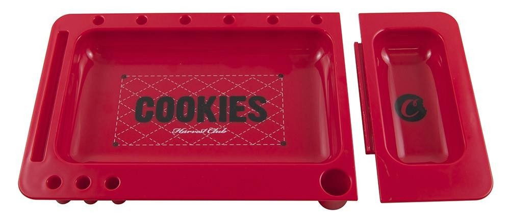 Rotes COOKIES Rolling Tray mit vielen Spezials. Maße: 323x163x28mm (2-teilig)