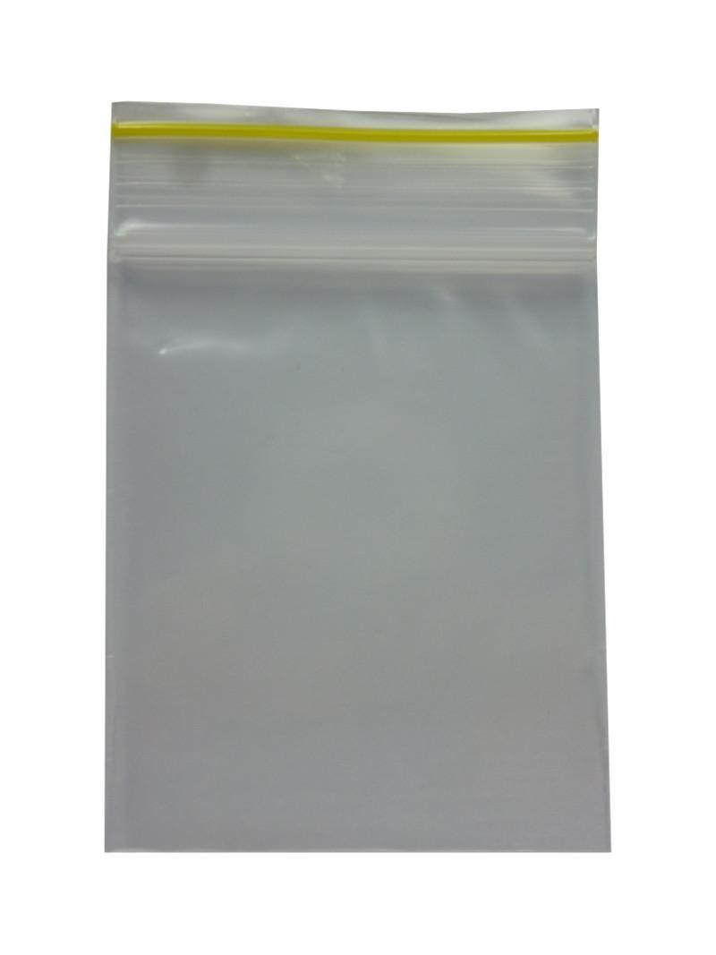 """""""Druckverschlussbeutel/Packs"""" 60x80x0.09mm dick und gelbem Streifen"""