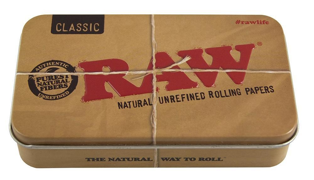 Große RAW Metalldose in braun. (HxBxT): 2,6x11,5x6,5cm