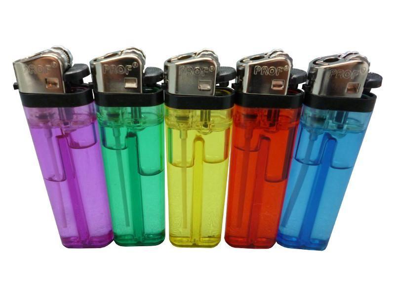 Feuerzeug Einfach & transparent. Farbe: Lila, grün, gelb, rot und blau.