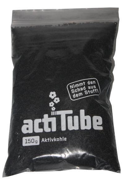 """Lose """"Aktivkohle"""" von actiTube als 150gr. Verpackung."""