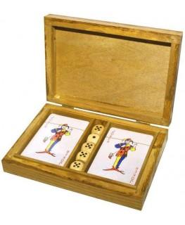 Kartenspiele & Würfel in Holzbox 17x12cm