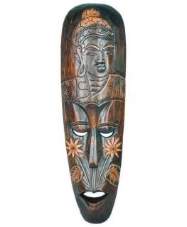 Holzmaske mit Buddah Bild und Höhe: 50cm. Handarbeit aus Bali