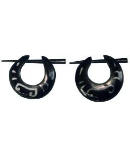 """Ohrringe Horn oval verziert kl. D""""15mm 1Paar"""