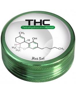 """""""Black Leaf"""" Metallgrinder mit THC Motiv, Farbe: grün & Ø:50mm"""