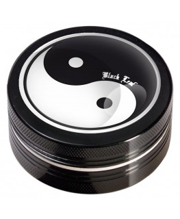 """Black Leaf"" Metallgrinder mit Ying Yang Motiv, Farbe: schwarz & Ø:50mm"