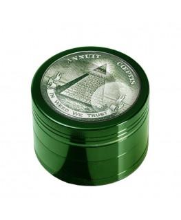 """""""Metallgrinder mit Sieb"""" grün, """"In weed we trust"""" Logo, Ø:50mm & von Black Leaf"""