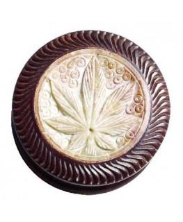 """Rosenholz """"Grinder/Mühle/Cruncher""""mit Stein Cannabis Blatt,  Ø:55mm & 2-teilig"""