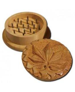 """""""Holzgrinder/Mühle"""" aus Shishamholz mit Cannabis Leaf, 2-teilig & Ø:51mm"""