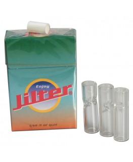 Jilter Glasfiltertips 3stk. aus Borosilikatglas und eine Packung Jilter Filter.