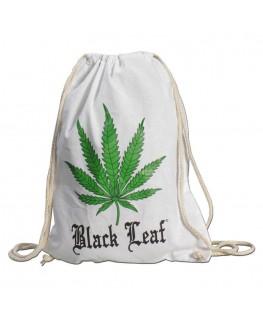 """Weißer """"Baumwollbeutel/Rucksack"""" mit grünem Black Leaf Cannabisblatt Motiv"""