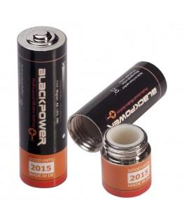 Geheimversteck Batterie Mignon AA, 1 x geschlossen und 1 x offen mit Versteck Ansicht
