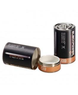 Geheimversteck Batterie Mono D 1x geschlossen und 1x offen mit Versteckansicht