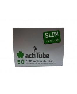"""7mm slim """"Aktivkohlefilter"""" von actiTube - 50er Verpackung. High-End Jointfilter"""