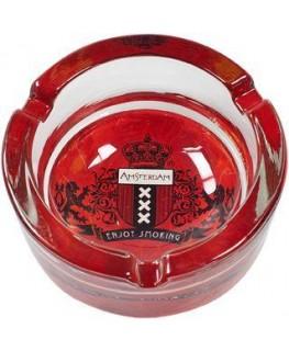 """Amsterdam """"Glas-Aschenbecher"""" mit enjoy smoking Schriftzug unter dem Wappen"""