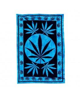 """""""Wandtuch/Tagesdecke"""" Big Leaf in blau & aus Baumwolle (Maße: 2,10x1,40m)"""