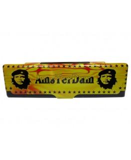 """Che Amsterdam """"Blättchen Metallbox"""" für King Size Papers in Schwarz-gelb-rot"""