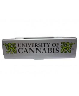 """University of Cannabis """"Blättchen Metallbox"""" für King Size Papers in silber"""