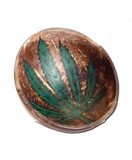 Bröselschale aus Kokosnuss mit Hanfblatt/Cannabisblatt