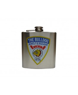 "Silberner Flachmann ""The Bulldog Amsterdam"" mit 6oz/170ml Volumen"