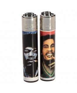 "Clipper Feuerzeug ""Hemp Legends"", Jimmy Hendrix und Bob Marley"