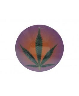 """Runde Metall """"Click-Clack/Klick-Klack"""" Dose mit grünem """"Cannabisblatt"""" Motiv."""