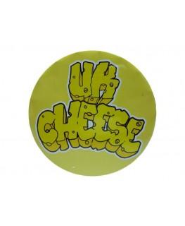 "Runde Metall ""Click-Clack/Klick-Klack"" Dose in gelb & mit ""UK Cheese"" Motiv."
