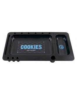 Schwarzes COOKIES Rolling Tray mit vielen Spezials. Maße: 323x163x28mm