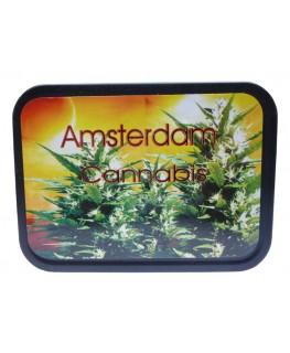 """Amsterdam Cannabis """"Metallbox/Tabakdose"""" mit Deckel & Gummidichtung."""