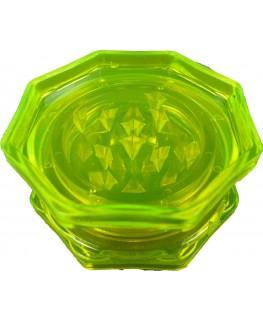 """""""Acrylgrinder/Mühle/Crucher"""" mit 8-Ecken in neon grün, 2-teilig & Ø:45mm (Offen)"""