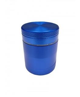 """Kleiner CNC """"Metallgrinder mit Sieb"""" in blau, 4-teilig, Gleitring, Magnet & Ø:30mm"""