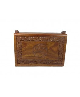 """Original """"Kavatza"""" Versteckbox mit Flower Motiv aus Holz & Drehunterlage"""