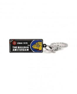 """""""The Bulldog Amsterdam"""" Coffeeshop License Plate Schlüsselanhänger mit Ring"""