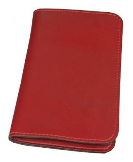 Rote Tabaktasche aus Leder. Maße: 160 x 95mm (160 x 190mm aufgeklappt)
