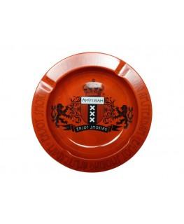 Roter Amsterdam Aluminium Aschenbecher in rund & enjoy smoking Schriftzug