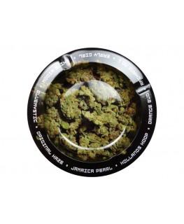 Schwarzer Aschenbecher in rund, Weed Blüten & vielen Gras Sorten.