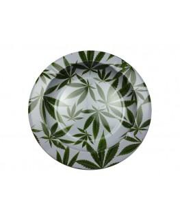Weißer Aluminium Aschenbecher in rund & mit grünen Cannabisblättern