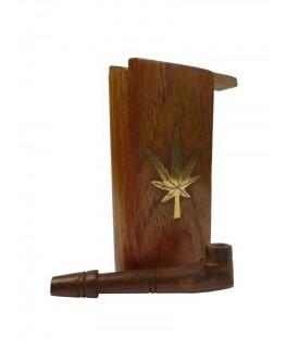 "Braune ""Mini-Holzpfeife"" mit Holzbox Cannabisblatt & Vorratsfach. (Offen + Pfeife)"