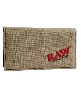 RAW Tabaktasche aus Hanf in Kaki. 155 x 87mm (155 x 175mm aufgeklappt)