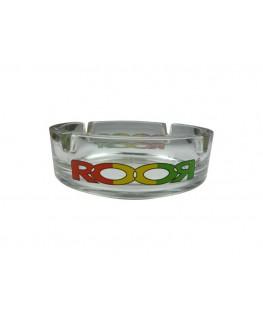 """ROOR """"Glas-Aschenbecher"""" mit zwei grün-gelb-roten Logo's & 4 x Jointhalter"""