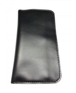 Schwarze Leder Tabaktasche. Maße: 160 x 95mm (160 x 190mm aufgeklappt)