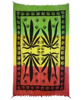 """""""Wandtuch/Tagesdecke"""" Rasta Cannabis Leaf grün/gelb/rot (Maße: 2,10x1,40m)"""