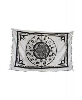 Schwarz-weißes Wandtuch mit Astrologie/Sternzeichen Aufdruck. Maße:1,40x2,2m