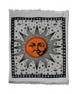 """Großes """"Wandtuch/Tagesdecke"""" mit rotem Sonnen Aufdruck (Maße: 2,10x2,40m)"""