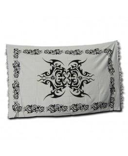 """Schwarz-weißes """"Wandtuch"""" mit Celtic/tribal Aufdruck (Maße: 1,40x2,2m)"""