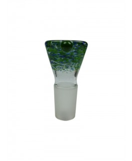 """18.8er Glaskopf/Hut von """"Zenit Glass"""" im Granulat Design grün/blau mit Rollstopper"""
